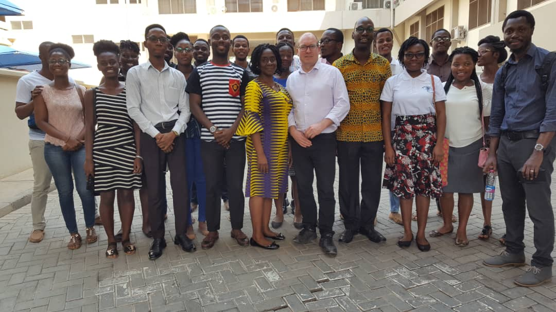 Prof Strang with some students and lecturers